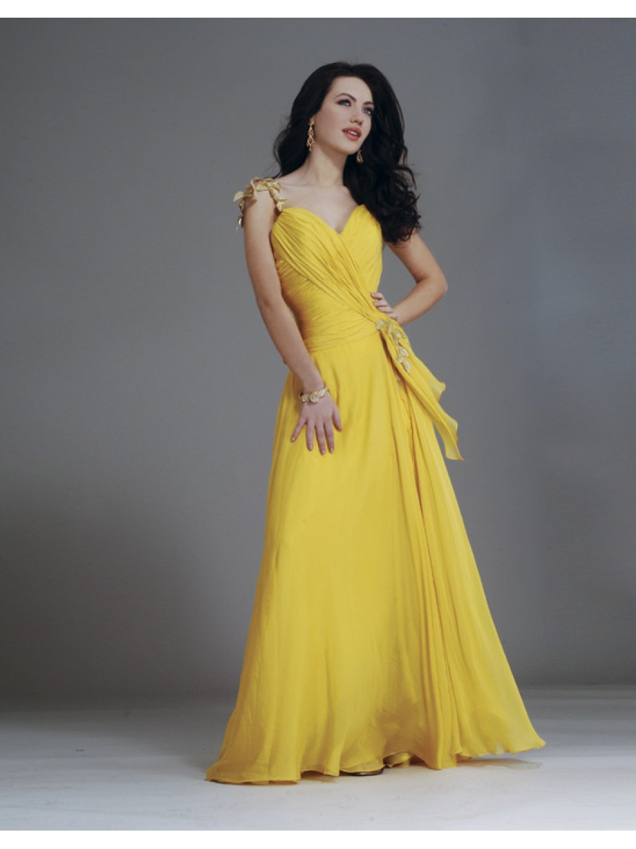 Yellow long dresses cocktail dresses 2016 for Can a yellowed wedding dress be whitened