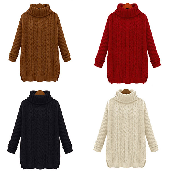 Pure Color Long Sleeve Turtleneck Sweater Sweaters Womens Sweater