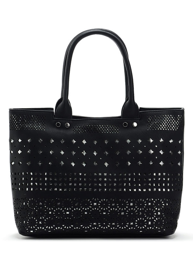 Hollow-out Double-deck Pure Color Women's Tote Bag