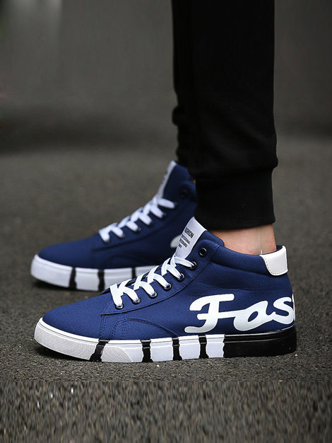 Lace-Up Front Ankle Round Toe Plain Men's Sneakers